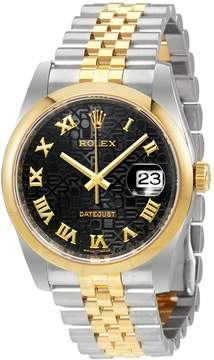 Rolex Datejust 36 Black Dial Stainless Steel and 18K Yellow Gold Jubilee Bracelet Automatic Men's Watch