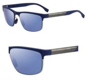 HUGO BOSS BOSS by Men's B0835s Rectangular Sunglasses, Blue Carbon Blue/Gray Mirror Blue Polarized, 58 mm