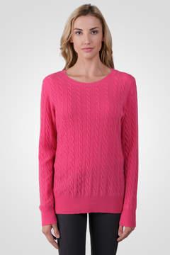 J CASHMERE Hot Pink Cashmere Cable-knit Crewneck Sweater