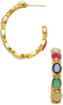 Amrapali Women's 18K Yellow Gold & Navratna Stone Hoop Earrings