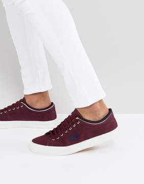 Fred Perry Kendrick Tipped Cuff Canvas Sneakers in Red