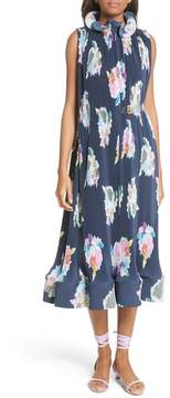 Tibi Asymmetrical Belted Floral Dress