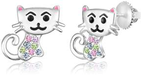 Swarovski Chanteur Jewelry White Gold Plated Sterling Silver Crystal Accent Cat Stud Earrings