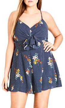 City Chic Plus Floral Dotted Playsuit