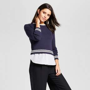 Cliche Women's Sweater to Woven Top Navy