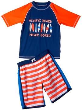 Trunks I Extreme Boys 4-7 I-Extreme Patriotic Always Board, Never Bored Raglan Rash Guard & Swim Set