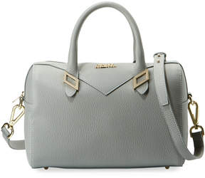 Versace Pebbled Leather Top Handle Bag, Gray