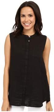 Allen Allen Linen Mock Collar Shirt