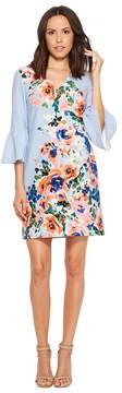 Donna Morgan Crepe Floral Placement Print Dress with Bell Sleeve Women's Dress