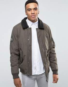 Jack and Jones Vintage Bomber Jacket with Fleece Collar