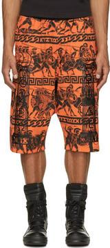 Kokon To Zai Orange and Black Jersey Greek Print Shorts