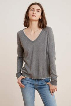Velvet by Graham & Spencer MORIAH LUX COTTON V-NECK SWEATER