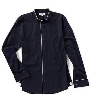 Murano Slim Long Sleeve Herringbone Mandarin Collar Woven Shirt