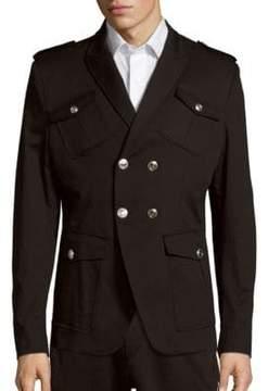Pierre Balmain Solid Multi-Pocket Cotton Overcoat