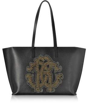 Roberto Cavalli Women's Black Leather Tote.