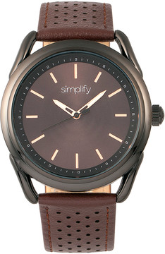Simplify Black & Brown The 5900 Leather-Strap Watch