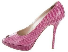 Christian Dior Peep-Toe Python Pumps