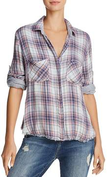 Bella Dahl Frayed-Hem Plaid Button-Down Shirt