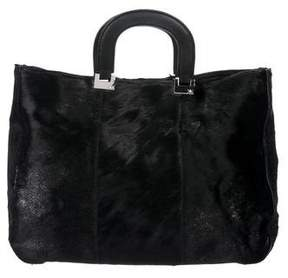 Kotur Leather-Trimmed Ponyhair Satchel