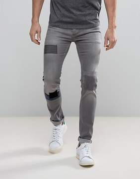 Religion Patched Denim in Skinny Fit With Stretch