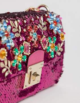 Aldo All Over Sequin Cross Body Bag with Floral Gem Embellishment