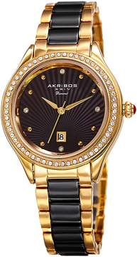 Akribos XXIV Black Dial Ladies Two-Tone Crystal Watch