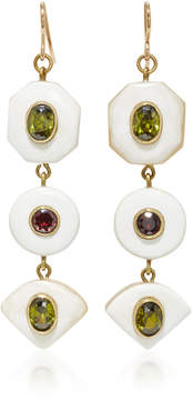 Ashley Pittman Gold-Tone Horn Zircon and Garnet Earrings