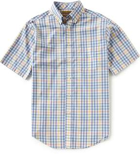 Roundtree & Yorke Gold Label Short-Sleeve Heather Plaid Non-Iron Sportshirt