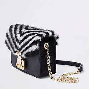 River Island Black faux fur stripe cross body bag