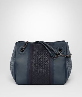 Bottega Veneta Medium Tote Bag In Krim Denim Embroidered Nappa Leather