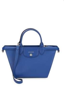 Longchamp Zippered Leather Shoulder Bag - BLUE - STYLE