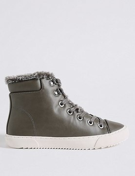Marks and Spencer Side Zip Fur Ankle Boots