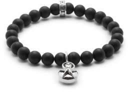 King Baby Studio Silver Star & 8MM Onyx Beaded Charm Bracelet