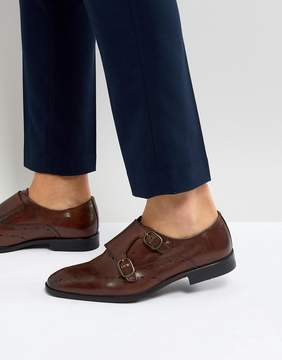 Asos Monk Shoes In Brown Leather With Diamond Punching