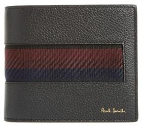 Paul Smith Men's Stripe Webbing Leather Wallet - Black