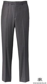 Banana Republic Slim Monogram Charcoal Pinstripe Italian Wool Suit Trouser