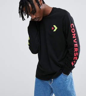 Converse Long Sleeve Top With Arm Print In Black Exclusive To ASOS