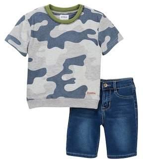 Hudson Printed Heather Pullover & Terry Shorts Set (Toddler Boys)