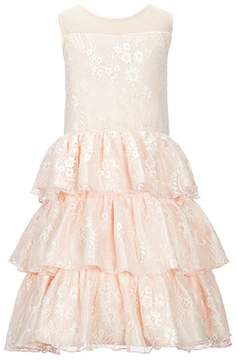 Us Angels Blush by Big Girls 7-16 Illusion-Neck Lace Dress