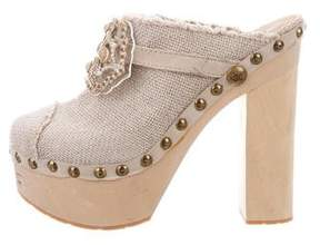 Chanel Embellished Platform Clogs