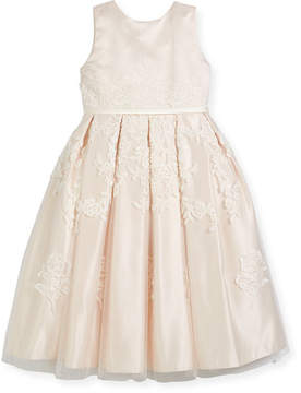 Joan Calabrese Satin Dress w/ Floral Embroidered Overlay, Ivory, Size 4-14