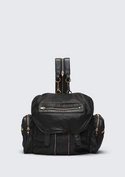 Alexander Wang MARTI BACKPACK IN WASHED BLACK WITH ROSE GOLD