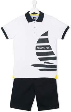 Emporio Armani Kids sailing boat print polo shirt and shorts set