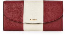 Bally Red Logo Stripe Leather Flap Wallet