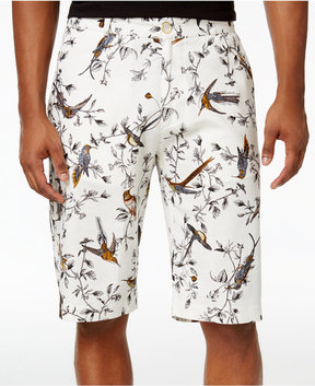Sean John Men's Bird-Print Linen 12.5 Shorts