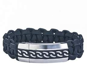 Armani Exchange Jewelry Mens Stainless Steel Braided Leather Bracelet.