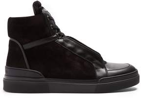 Balmain Lace-up leather and suede high-top trainers