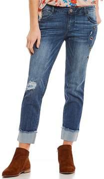 Democracy Flexellent Embroidered Skinny Girlfriend Jeans