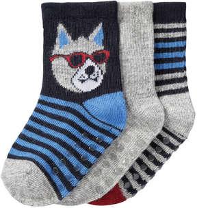 Joe Fresh Baby Boys' 3 Pack Pattern Crew Socks, JF Midnight Blue (Size 0-12)