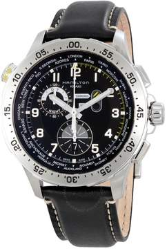 Hamilton Worldtimer Black Dial Chronograph Black Leather Men's Watch